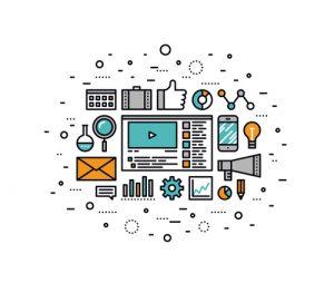 Video marketing strategy line style illustration